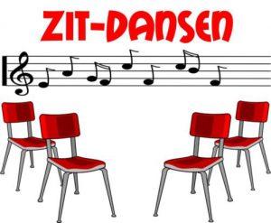 Afbeelding van stoelen en muziek noten met de titel zit-dans