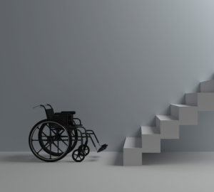 Een rolstoel onder aan een trap