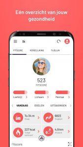 Afbeelding van app met een profiel en fitscore