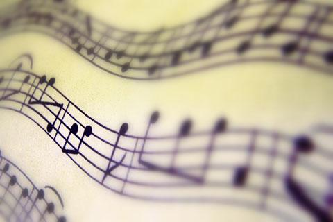muzieknoten op een notenbalk