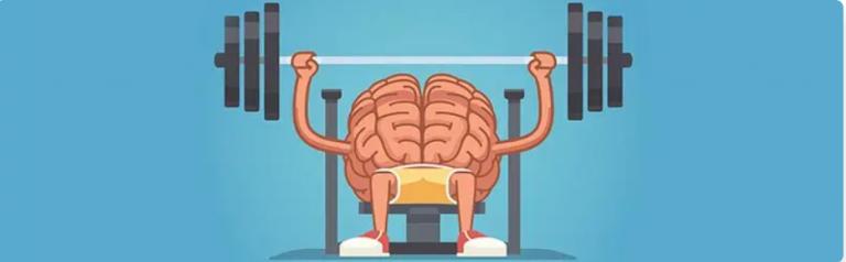 een brein dat gewicht aan het heffen is