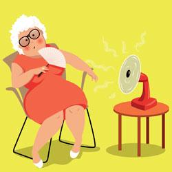 afbeelding van een mevrouw in een stoel met een ventilator