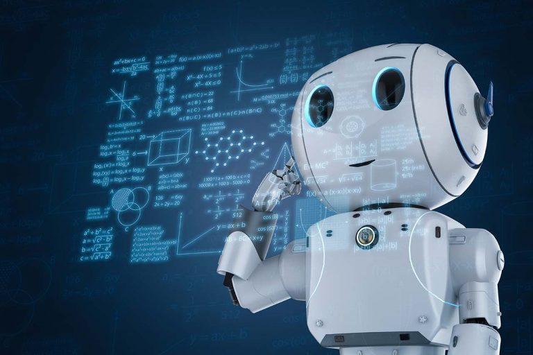 een robot die naar formules aan het kijken is