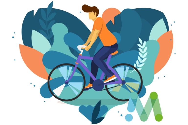 afbeelding van een man die aan het fietsen is, de achtergrond heeft de vorm van een hart