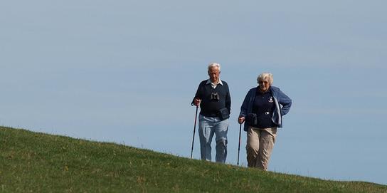 afbeelding van twee oudere mensen die een heuvel oplopen met hun wandelstok